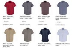 Men's Work Shirt Selection Display Image At Uniform Supply Company In NJ - Prime Uniform Supply