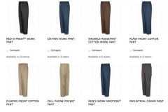 Men's Work Pants Inventory Image From Uniform Rental Company In New Jersey - Prime Uniform Supply